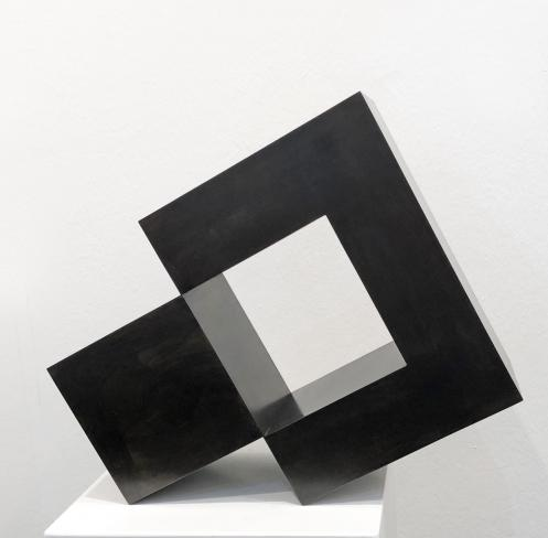 Stephan Siebers, Isolated Cube, 2018, Stahl patiniert, 50 x 40 x 20 cm